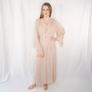 FREE PEOPLE Light Pink Peasant Maxi Dress Flare XS